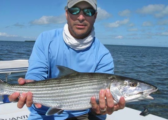 Jimmy showing his bonefish in Cozumel.