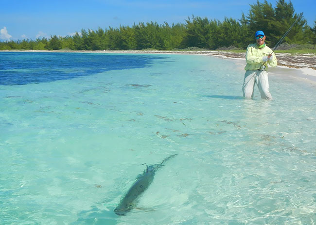 Justin doing fly fishing in Cozumel's crystal clear waters.